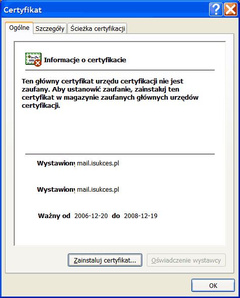 Okno instalacji certyfikatu